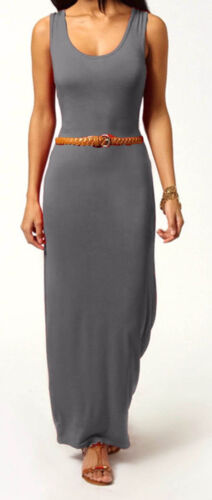 New Womens Boho Plain Racer Back Belted Stretch Jersey Bodycon Long Maxi Dress
