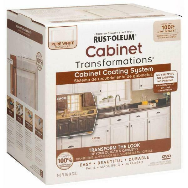 Rust Oleum Cabinet Paint Transformations Acrylic 1 Qt Pure White Small Kit