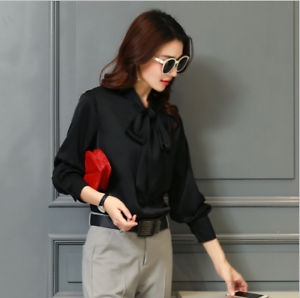 Womens-Satin-Silk-Button-Down-Blouse-Top-Bow-Tie-Neck-Shirt-Long-Sleeve-Zhou8