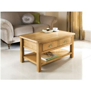 Details About Solid Oak Coffee Table 2 Drawer Coffee Table