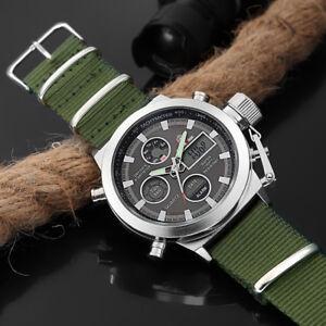 Men-Military-Army-Green-Analog-Digital-Quartz-Nylon-Canvas-Wrist-Sport-Watch-US