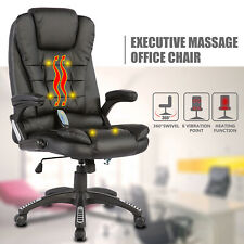 6 Point Massage Office Chair Leather Ergonomic Racing Game Computer Chair Black