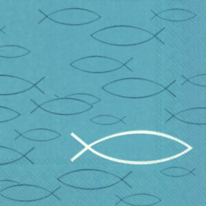 20 Servietten Fische Blau Kommunion Taufe Konfirmation Firmung
