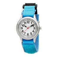 Ladies / Kids Velcro Talking Alarm Watch: Light Blue Strap - Choice Of Voice