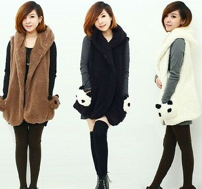 fashion Women panda pocket with hood Vest Vest Casual Hoodie Vest Coat
