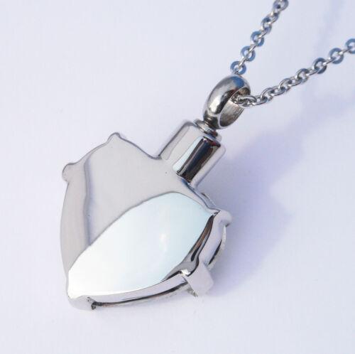 "Cremation Ashes Jewellery Keepsake Necklace Urn /""Blue Embrace Heart/"""