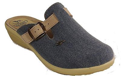 Fly Flot Damen Hausschuhe Textil Jeans Clogs Pantoffeln Blau Keilsohle NEU