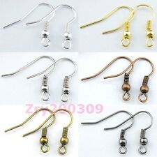 120Pcs Silver,Golden,Bronze,Black Ear Wire Hook With Spring and Ball R0026