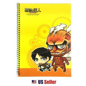 Attack On Titan Blank Spiral Notebook With Color Pages Yellow Ebay