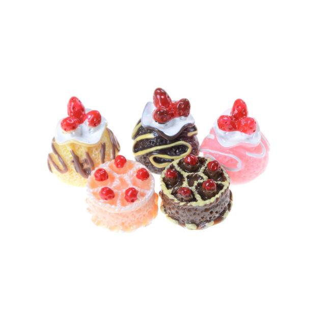 5x Dessert 3D Resin Cream Cakes Miniature food Dollhouse Accessories JCAU