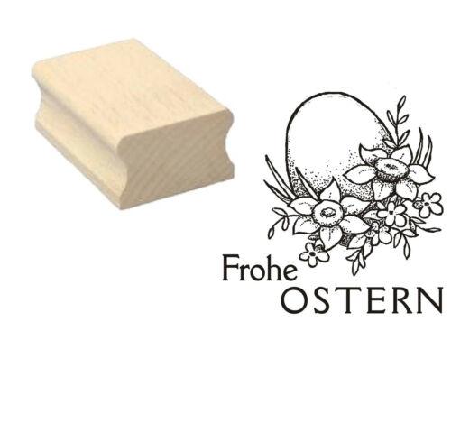 Stempel « FROHE OSTERN 02 » Motivstempel Osterei Blumen Eier Frühling Geschenk