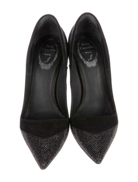 Auth RENE CAOVILLA Black SUEDE Black CRYSTALS Heels SHOES