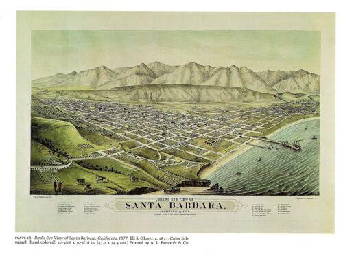 "1976 Vintage CITY /""BIRDS EYE VIEW OF SANTA BARBARA 1877 /"" Color Art Lithograph"