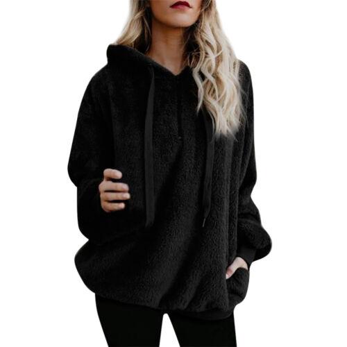 Women Winter Hooded Sweatshirt Coat Warm Wool Zipper Pocket Cotton Outwear LI0