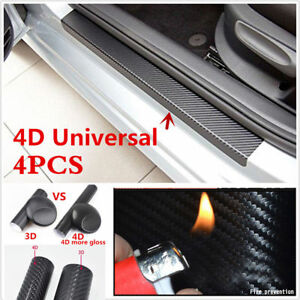 4X-Car-Accessories-4D-Carbon-Fiber-Door-Sill-Scuff-Protector-Stickers-amp-Tool-NEW