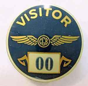 1940's WWII CLEVITE CGB aviation industry VISITOR Home Front badge pin +