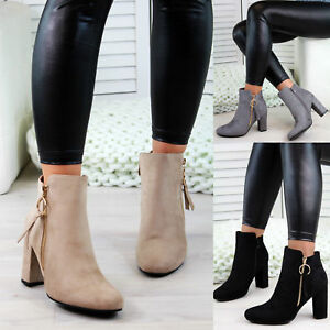 New-Womens-Ladies-Ankle-Boots-High-Block-Heel-Zip-Comfy-Casual-Shoes-Sizes-3-8