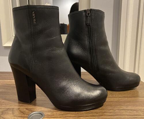 Prada Sport Black Leather Ankle Block Heel Boots