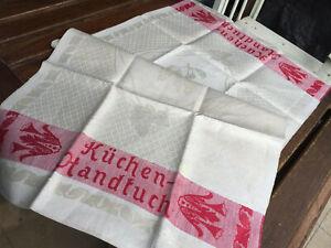 Jugendstil-Leinen-Handtuch-Schriftzug-034-Kuechen-Handtuch-034-rote-Webkante-um-1900