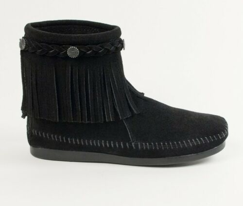 Minnetonka Women/'s Black High Top Back Zip Moccasin Boot 299