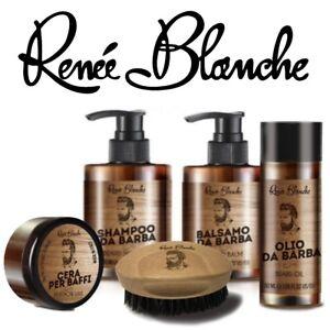 KIT BARBA BAFFI Cera Olio Shampoo Balsamo Spazzola Renée Blanche BEARD LINE