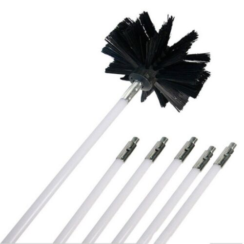 Rotary Chimney Cleaning Brush Cleaner Sweep System Kit Flexible Rod Fireplace
