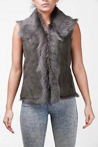 Ladies Women/'s Short Grey Toscana Shearling Leather Sheepskin Waistcoat Gilet