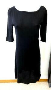 J-CREW-WOMENS-BLACK-COTTON-THIN-KNIT-CASUAL-DRESS-SIZE-S