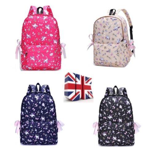UK Girls Students Unicorn School Bag Pencil Canvas Case Backpack Rucksack Gifts