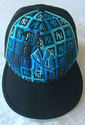 59Fifty NY New York Yankees Black Blue Baseball Cap Hat Flat Brim New Era 7 18