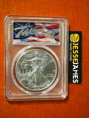 SILVER EAGLE PCGS MS70 FLAG THOMAS CLEVELAND FIRST DAY OF ISSUE FDI W 2019