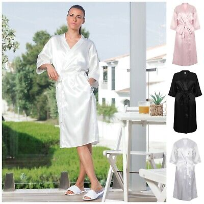 Ladies Women Satin Bath Robe Dressing Gown Soft Kimono Robe Bridal Bride Wedding