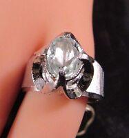 Cubic Zirconia Ring Genuine Stone Silver Tone Size 5 Hge-hms