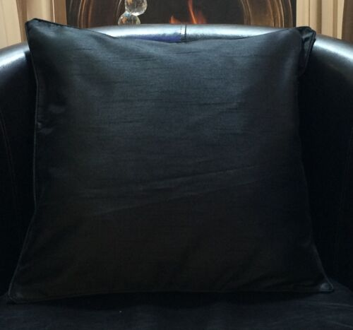 Black Faux Silk With Evans Lichfield Cushion Cover