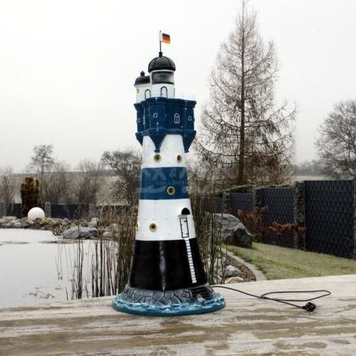LEUCHTTURM BLAUER SAND blau weiß 120 cm DOPPELLICHT Garten Deko NORDSEE maritim