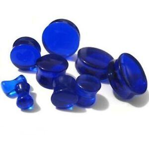 PAIR-BLUE-SAPPHIRE-QUARTZ-GLASS-STONE-SADDLE-EAR-PLUGS-GAUGES-8G-6G-4G-2G-7-16-034