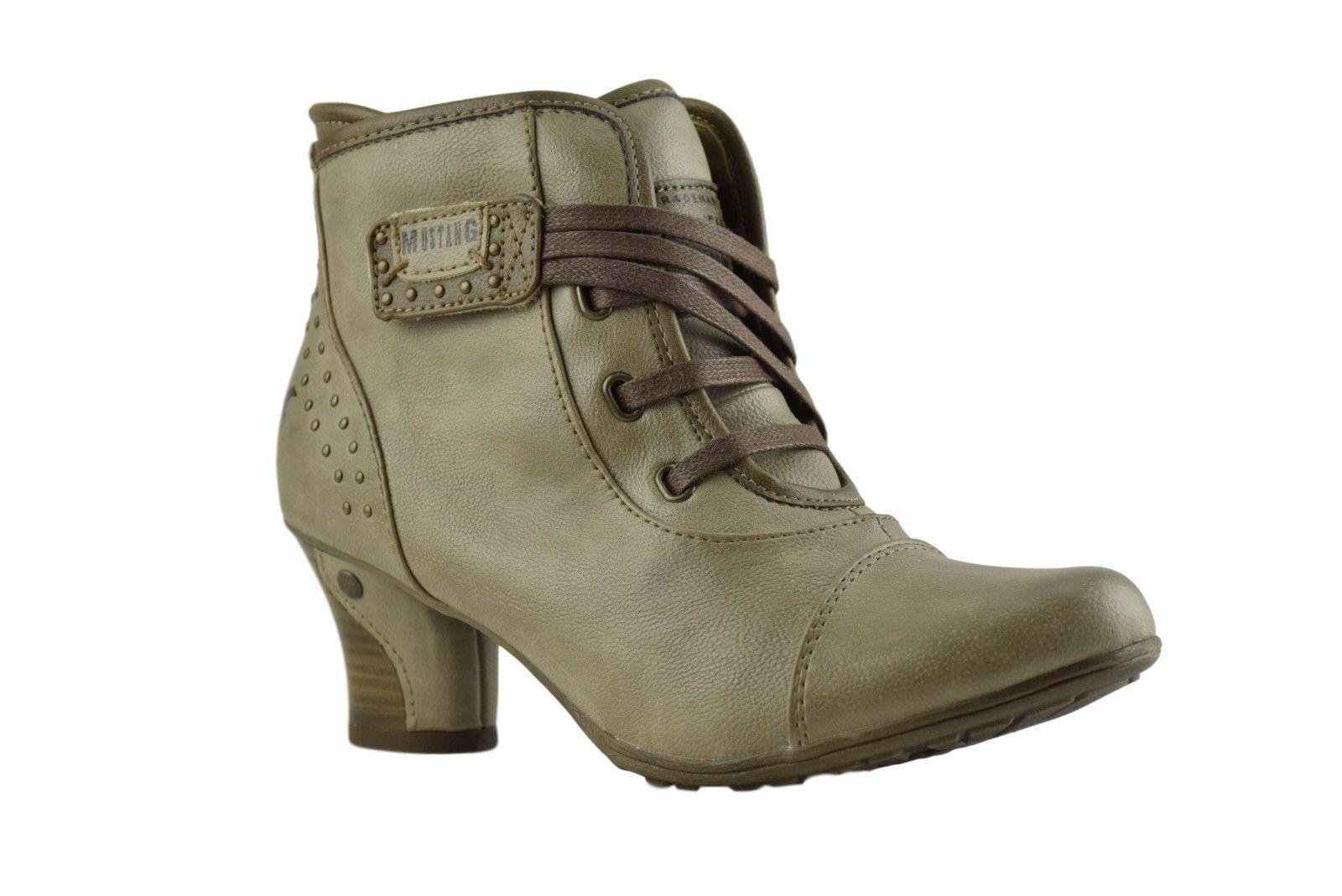 Mustang New Ladies Light Ivory Grey Vegan Leaher Biker Ankle Zip Heel Boots
