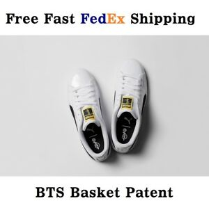 a50400ed926039 PUMA X BTS Basket Patent Sneakers Official Shoes Photo Card Box ...