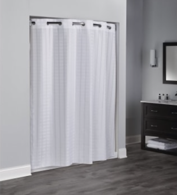 """Fabric Shower Curtain Hookless Mold Resistant 71/""""Long 71/""""Wide Grey"""
