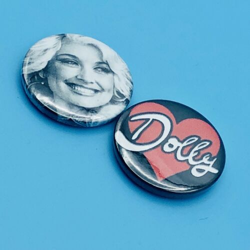 SET OF 2 DOLLY PARTON HEART BUTTON PIN BADGES