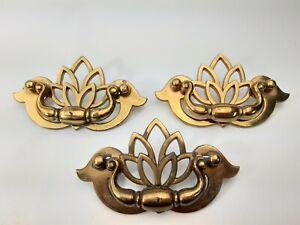 Vintage 3 KBC Drawer Pulls Cabinet Bail Handles Tulip Floral Brass N 18794 -1