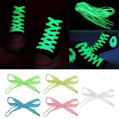 Flat Luminous Shoe Laces 5 Colors Fluorescen Shoelaces Boot Trainer Shoes 120cm