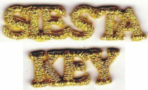 Metallic Gold Siesta Key Florida Tourism Embroidery Applique Patch