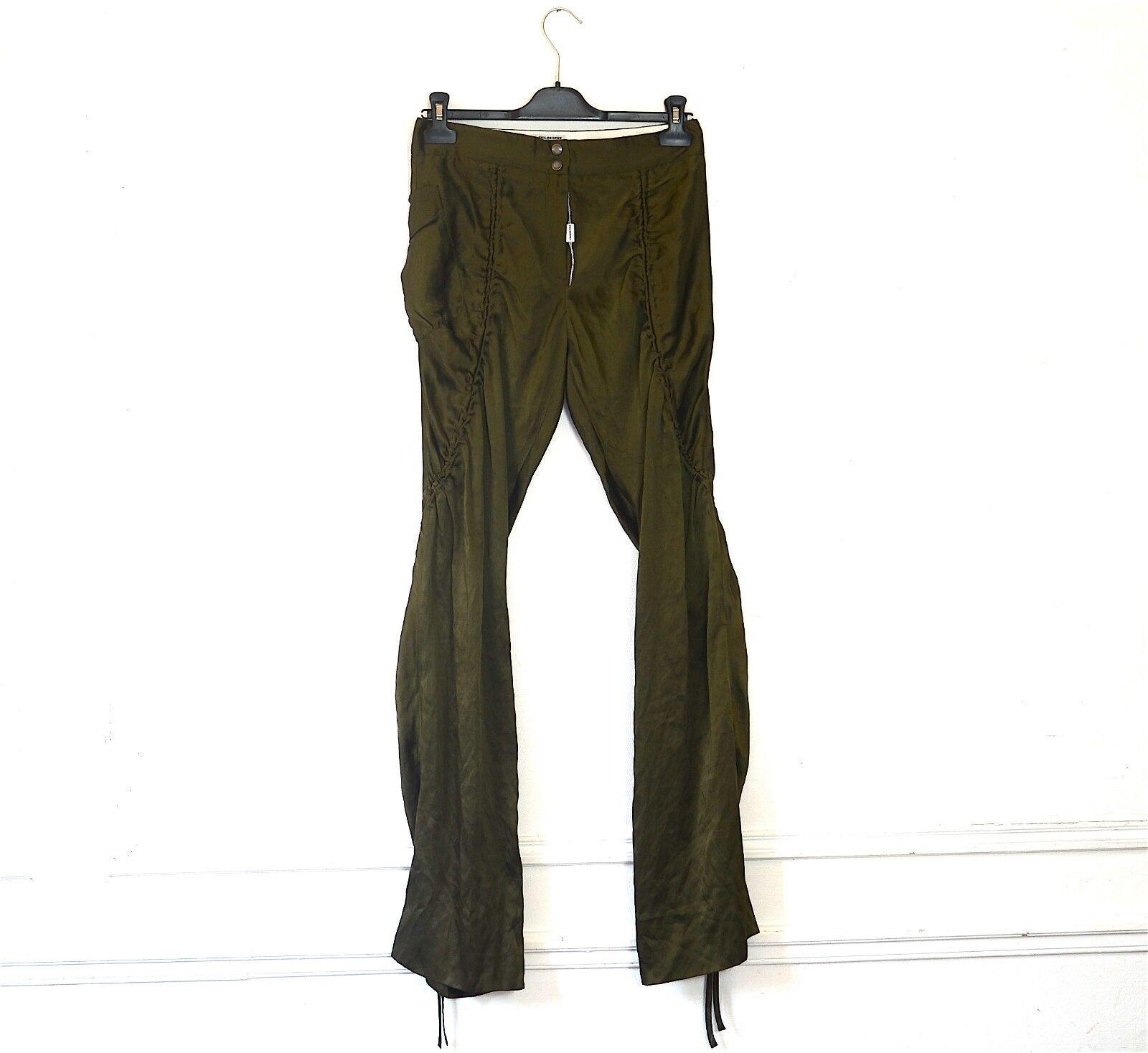 Pantalon type sarouel en soie kaki PHILOSOPHY DI ALBERTA FERRETTI. T 36 FR. Silk