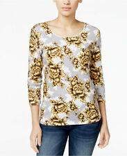NWT 2XL 3/4 Sleeve Plus size Womens Top Shirt Safron Gold karen Scott