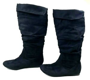 black suede slouch boots