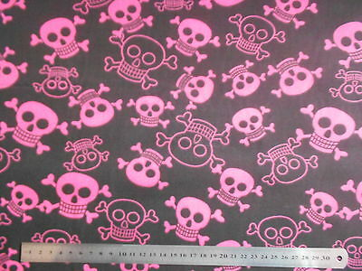 Funky Skulls Poly Cotton Fabric Material by the METRE Pink & Black