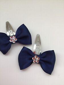 2 pairs royal blue school Girls  Kids Hair  Bows Snaps Alligator Clips UK