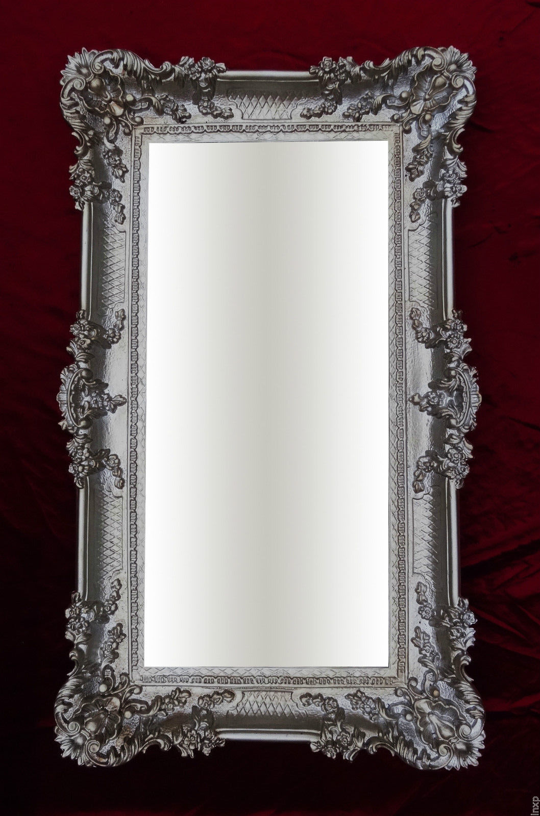 Miroir mural argent vieilli 96x57 antique baroque rococo somptueux renaissance ebay for Miroir mural baroque