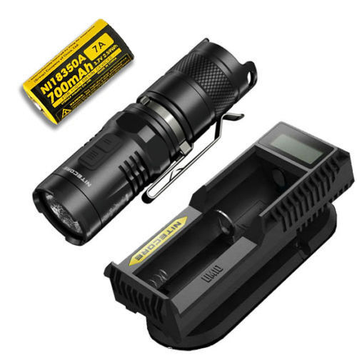 Combo: Nitecore MT10C Tactical Flashlight w/IMR 7A Battery & UM10 Charger